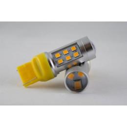 Светодиодная автомобильная лампа в указатель поворота  цоколь T20(7440)(WY21W) 21-3535 9-30V-Жёлтый