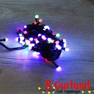 """Гирлянда LED """"Нить"""" (String) 100LED линза, 8 мм. 10м, чёрный провод, разноцветная, уличная"""