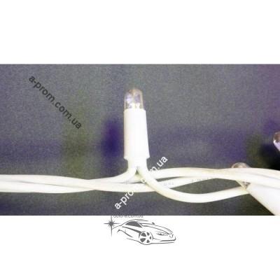 Гирлянда светодиодная уличная 114ламп (LED) 10м белый кабель (каучук) с мерцанием, белая, синяя