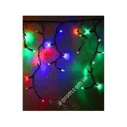 """Гирлянда светодиодная уличная """"Бахрома"""" 100ламп (LED) чёрный кабель (каучук), RGB"""