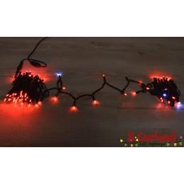 """Гирлянда LED """"Нить"""" (String) 100LED 8 мм. 10м, чёрный провод, красная, уличная, (каучук)"""