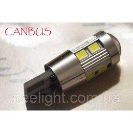 Светодиодная автомобильная лампа в габарит T10 со встроенной обманкой бортового компьютера 10-2835 9-30В Линза