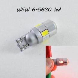 Светодиодная лампа в повторитель стопа, задний габарит, цоколь T10(W5W) 6-5630  9-16V  Линза