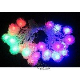 Гирлянда светодиодная Ёжики RGB 30ламп (LED) прозрачный (белый) провод, Микс