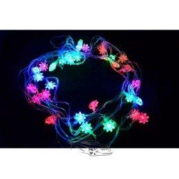 Гирлянда светодиодная Снежинка RGB 30ламп (LED) прозрачный (белый) провод, Микс