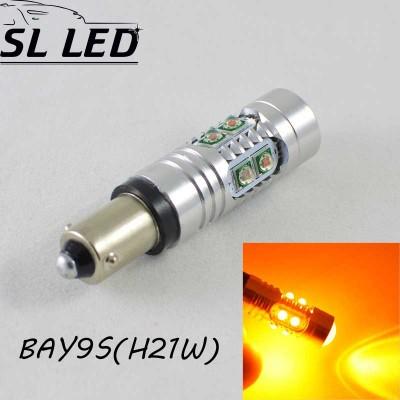 Мощная светодиодная  лампа  SLP LED с цоколем BAY9S (H21W) Epistar 50W 9-30V Желтый