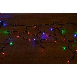 """Гирлянда светодиодная """"Бахрома"""" 100 ламп (LED) 4 мм, черный провод, RGB (разноцветная), уличная."""