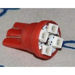 Светодиодная автомобильная лампа в подсветку с цоколем Т10-1210-4  (красный)