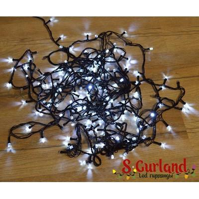 """Гирлянда LED """"Нить"""" (String) 200LED 8 мм. 15 м, чёрный провод,свечение: белое, грань"""