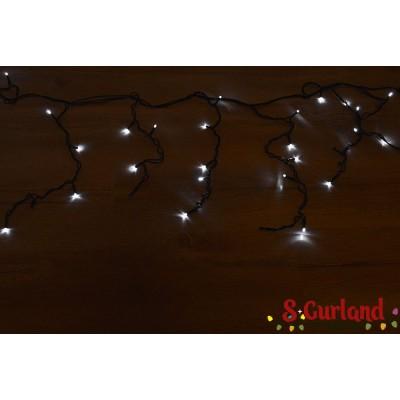 """Гирлянда светодиодная """"Бахрома"""" 100 ламп (LED) 4 мм, черный провод, белый цвет, уличная."""