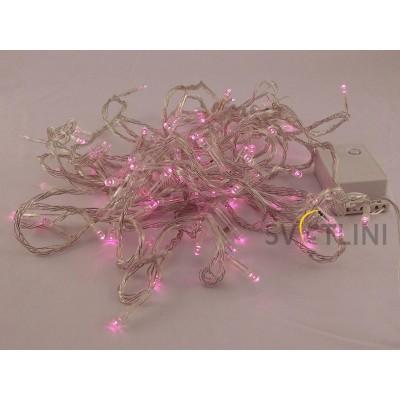 Гирлянда Нить (STRING) 8м, ПВХ, 100 светодиодов. Розового цвета свечения с контроллером