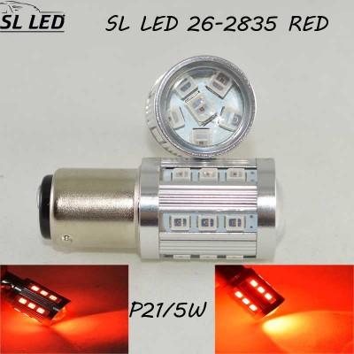 Светодиодная автомобильная лампа SLP LED с цоколем 1157(P21/5W)(BAY15D) 26-2835 9-30V Красный