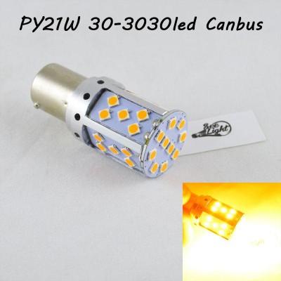 LED лампа в поворот PY21W(1156)(BAU15S) SL35-3030 led Янтарный с обманкой