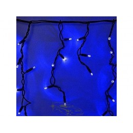"""Гирлянда светодиодная уличная """"Бахрома"""" 100ламп (LED) черный/белый кабель (каучук), синяя"""