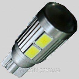 Светодиодная автомобильная лампа в габарит T10(W5W) 8-5630+3W Cree 9-30-Линза