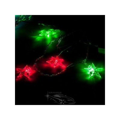 Гирлянда светодиодная Звезда RGB 30ламп (LED) прозрачный (белый) провод, Микс