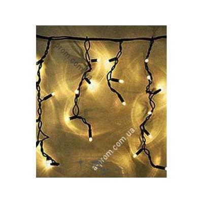 "Гирлянда светодиодная уличная ""Бахрома"" 100ламп (LED) чёрный/белый кабель (каучук), белый тёплый"