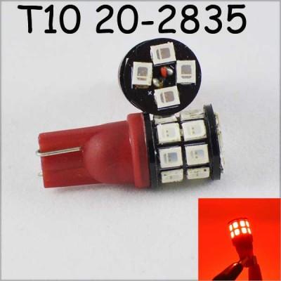 Светодиодная лампа в задний габарит, стоп, подсветку SLP LED под цоколь W5W(T10)  20- 2835 9-30 В. Красный