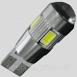 Светодиодная автомобильная лампа в габарит T10 со встроенной обманкой бортового компьютера 6-5630 9-30-Линза