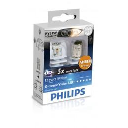 Лампа светодиодная Philips PY21W Yellow Янтарный  12/24V, 2шт/блистер