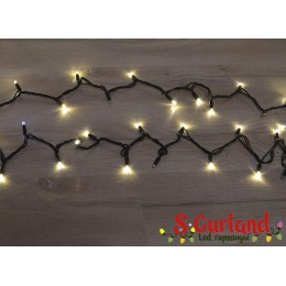 """Гирлянда LED """"Нить"""" (String) 100LED 7 мм. 10м, чёрный провод, белая тёплая, уличная, (каучук)"""
