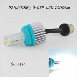 SLP LED светодиодная лампа в задний ход, цоколь 1156(P21W)(BA15S) 9 CSP led, 1000 Люмен 9-30 В. 6500К