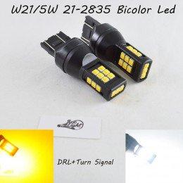 Светодиодная автомобильная лампа SLP LED с цоколем T20(7443)(W21W/5W) 21 2835 led жёлтый/белый