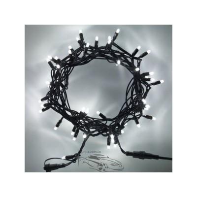 """Гирлянда уличная """"Нить"""" (String) 200LED 15м белая, чёрный провод (каучук), светодиодная"""