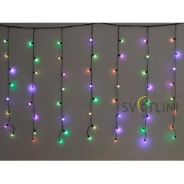 Гирлянда Штора (Curtain) 3м х 1м, ЧЕРНЫЙ КАБЕЛЬ ПВХ, 98 светодиодов, Разноцветная RGB с эффектом мерцания (flash)