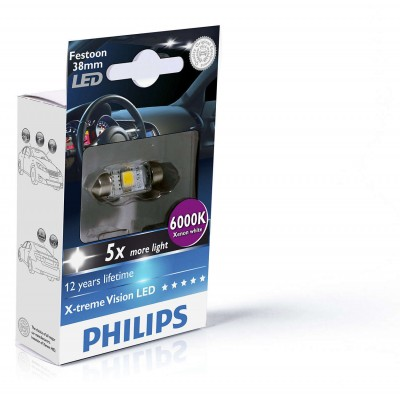 Лампа светодиодная Philips Festoon BlueVision LED T10.5x38, 6000K, 1шт/блистер