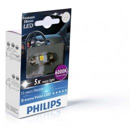 Лампа светодиодная Philips Festoon BlueVision LED T10.5x38, 6000K, 1шт/блистер