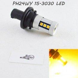 Яркая LED лампа в поворот, цоколь PH24WY, 15-3030 led Янтарный