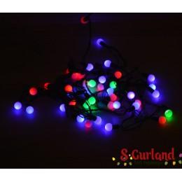 """Гирлянда светодиодная """"Шарики"""" 40 ламп(LED) RGB, Светодиоды разноцветные. Цвет шнура: черный.Уличная"""