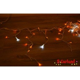 "Гирлянда светодиодная ""Бахрома"" 120 ламп (LED) 8 мм, белый провод, желтый цвет, уличная (каучук)"