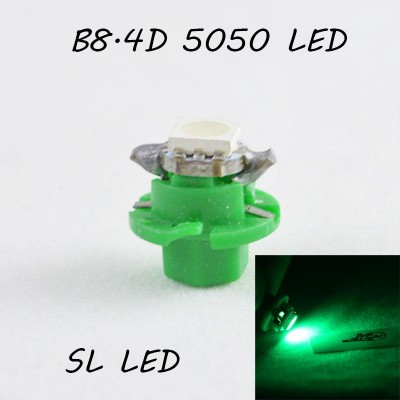 LED лампа в подсветку приборной панели, цоколь B8.4D SL LED зеленый