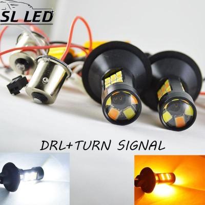 Установочный комплект автомобильных ламп SLP LED с цоколем 1157(PY21W)(BAY15S) 42 2835 led жёлтый/белый