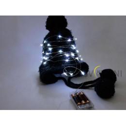 Гирлянда пружинка 2м, 20 диодов на батарейках Холодного белого цвета свечения