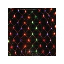 """Гирлянда светодиодная """"Сетка"""" 200 ламп (LED). Цвет светодиодов: синий, микс(разноцветный); Цвет шнура: прозрачный (белый)"""