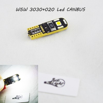 Светодиодная лампа SL LED с обманкой, цоколь W5W(T10)  3030+020 LED, 12 В. Белый