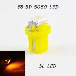 LED лампа в подсветку приборной панели, цоколь B8.5D SL LED желтый