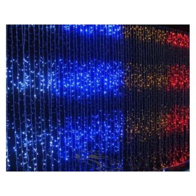 """Гирлянда светодиодная """"Водопад"""" 400 ламп(LED), уличная. Цвет светодиодов: белый холодный, белый тёплый, синий. Цвет провода: белый (прозрачный)."""