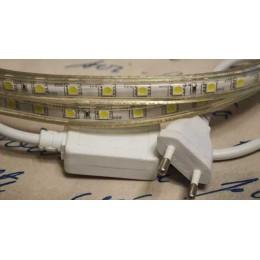 Светодиодная лента 220 Вольт, 5050 60 led/метр. Белый