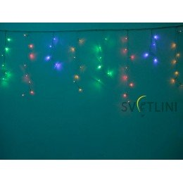 Гирлянда Мини штора (Icicle) 3м х 0, 6м, ПРОЗРАЧНЫЙ КАБЕЛЬ ПВХ, 100 светодиодов, Разноцветная RGB с контроллером