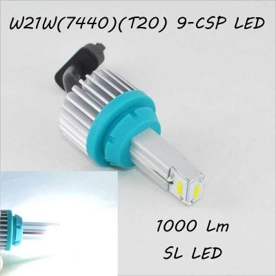 SLP LED светодиодная лампа в задний ход, цоколь T20(W21W) 9 CSP led, 1000 Люмен 9-30 В. 6500К