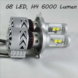 Комплект LED ламп в основные фонари, Цоколь Н4, серия G8, 36W, 6000 Люмен/Комплект
