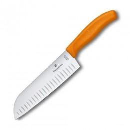 Ніж кухонний Victorinox SwissClassic Santoku 17 см в блістері  помаранчевий (Vx68526.17L9B)