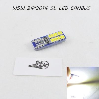 Лед лампа в габарит SLS LED, с обманкой Can шины, цоколь W5W(T10) 24 светодиода типа 3014 12 В. Белый