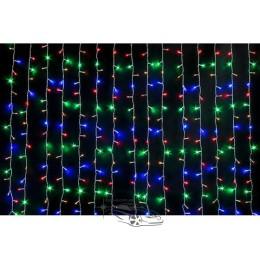 Гирлянда Штора (Curtain) RGB 3*1, 5 м, ПРОЗРАЧНЫЙ КАБЕЛЬ Вертикально свисающая гирлянда на 1, 5 метра.
