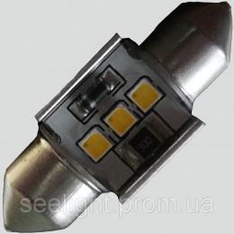 Светодиодная автомобильная лампа с встроеной обманкой бортового компьютера SV8,5(C5W) 31mm-samsung-3W