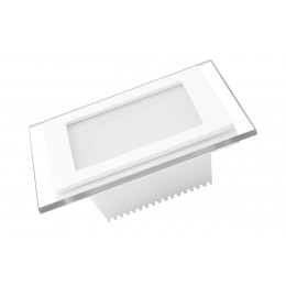 LED Светильник EUROLAMP квадратный GLASS Downlight 6W 3000K